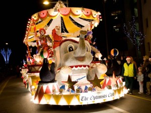 A Christmas float in the parade